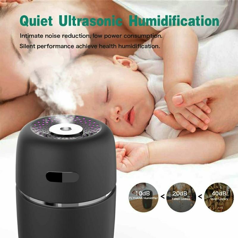 USB Car LED Air Purifier Essential Oil Humidifier - Black