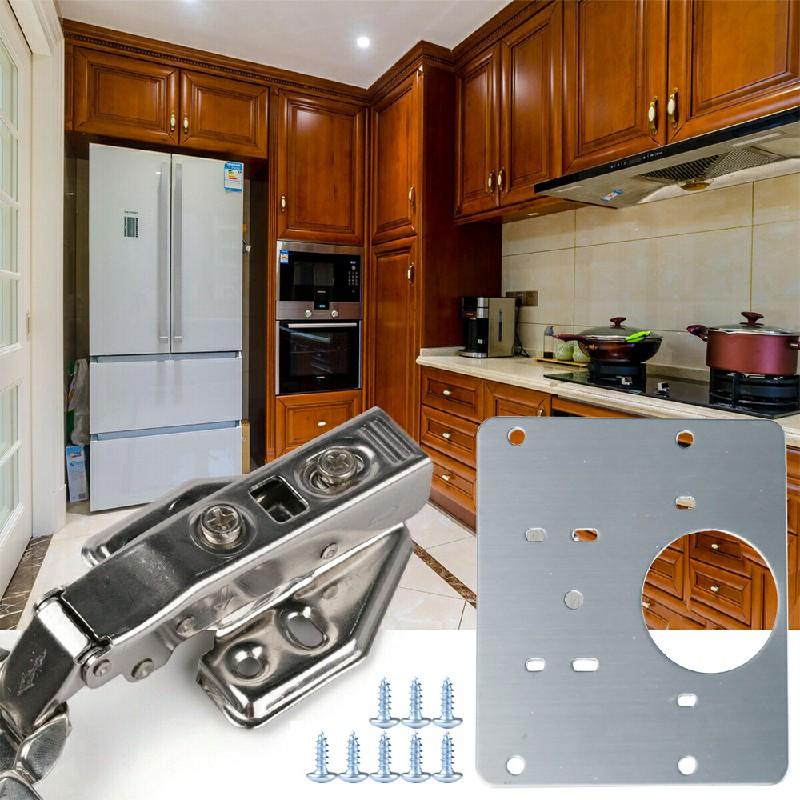 Kitchen Cupboard Door Hinge Repair Kit Plate and Fixing Screws
