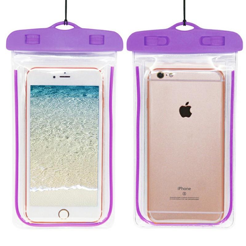 Waterproof Glowing Underwater Phone Pouch - Purple
