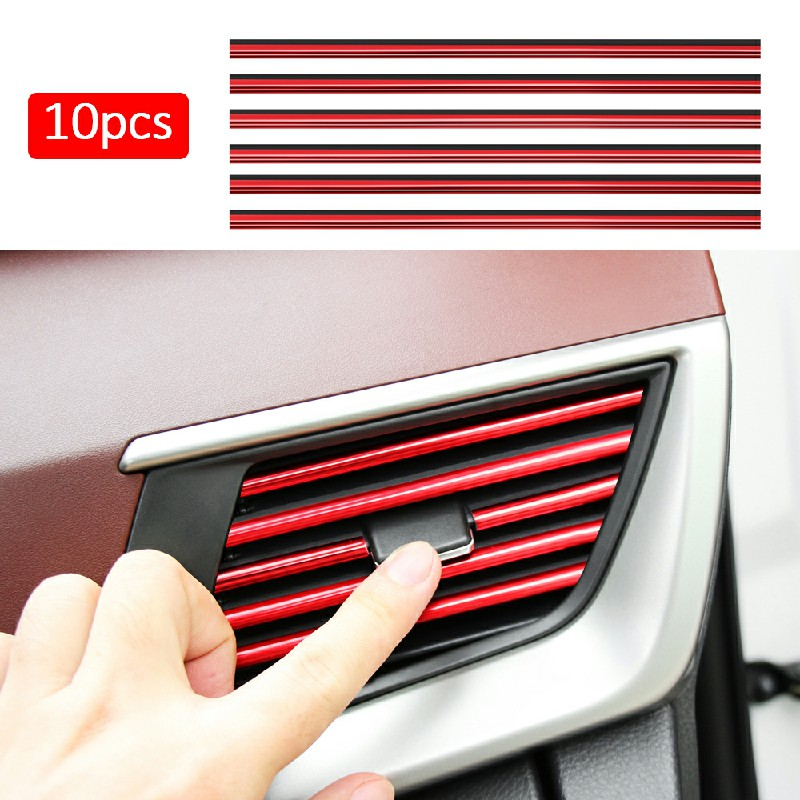 10 pcs Car Air Conditioner Outlet Vent Grille - Red