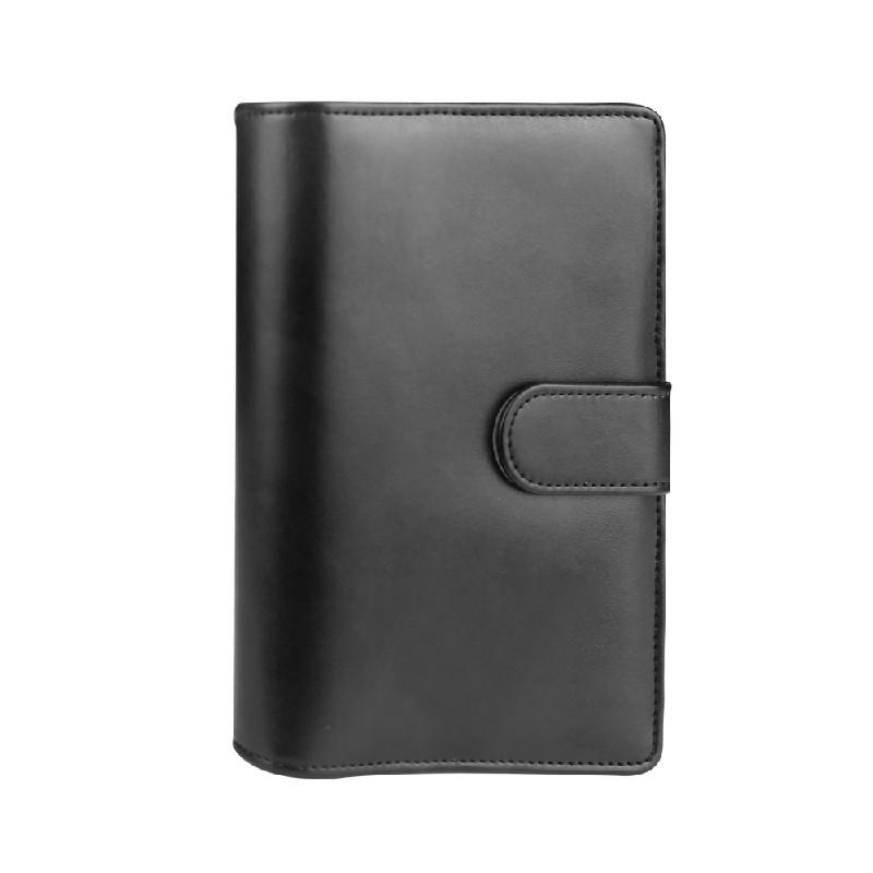 A6 PU Leather Notebook Binder Budget Planner Organizer - Black