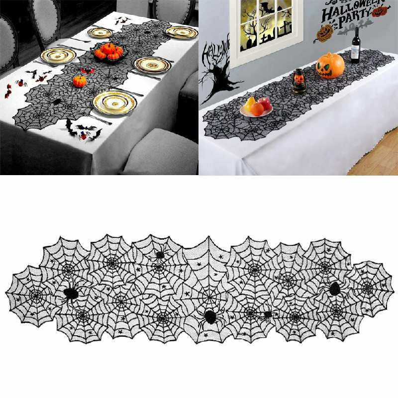 Halloween Table Cloth Fireplace Party Window Spider Cobweb Decoration