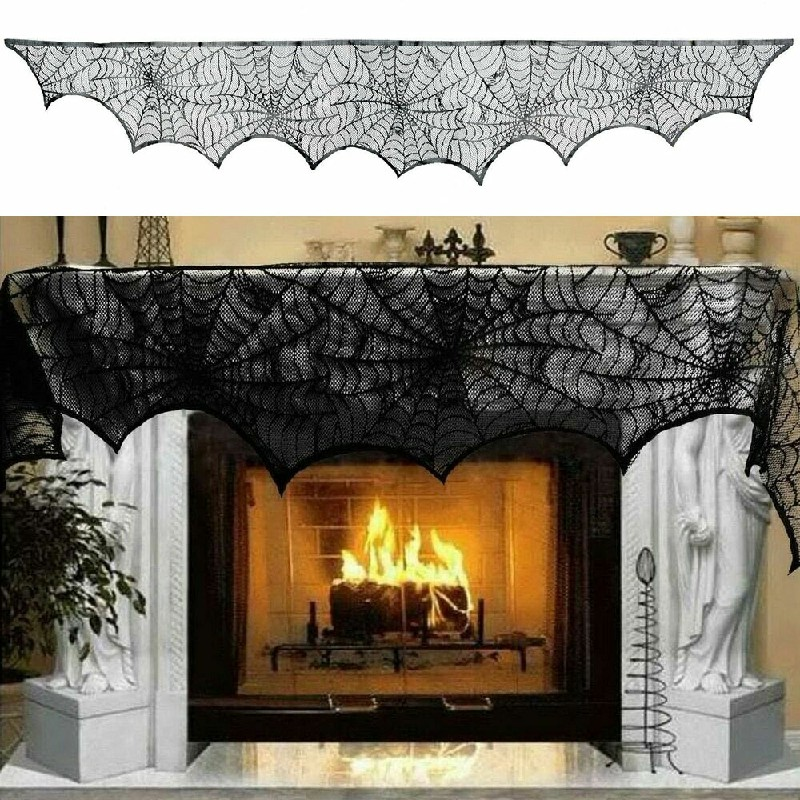 Large Black Lace Spider Cloth Design Halloween Party Decoration