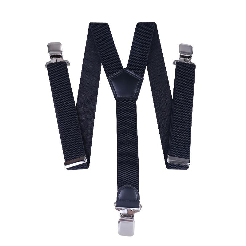40mm Width Unisex Mens Women Braces Heavy Duty Stripes Suspenders - Black