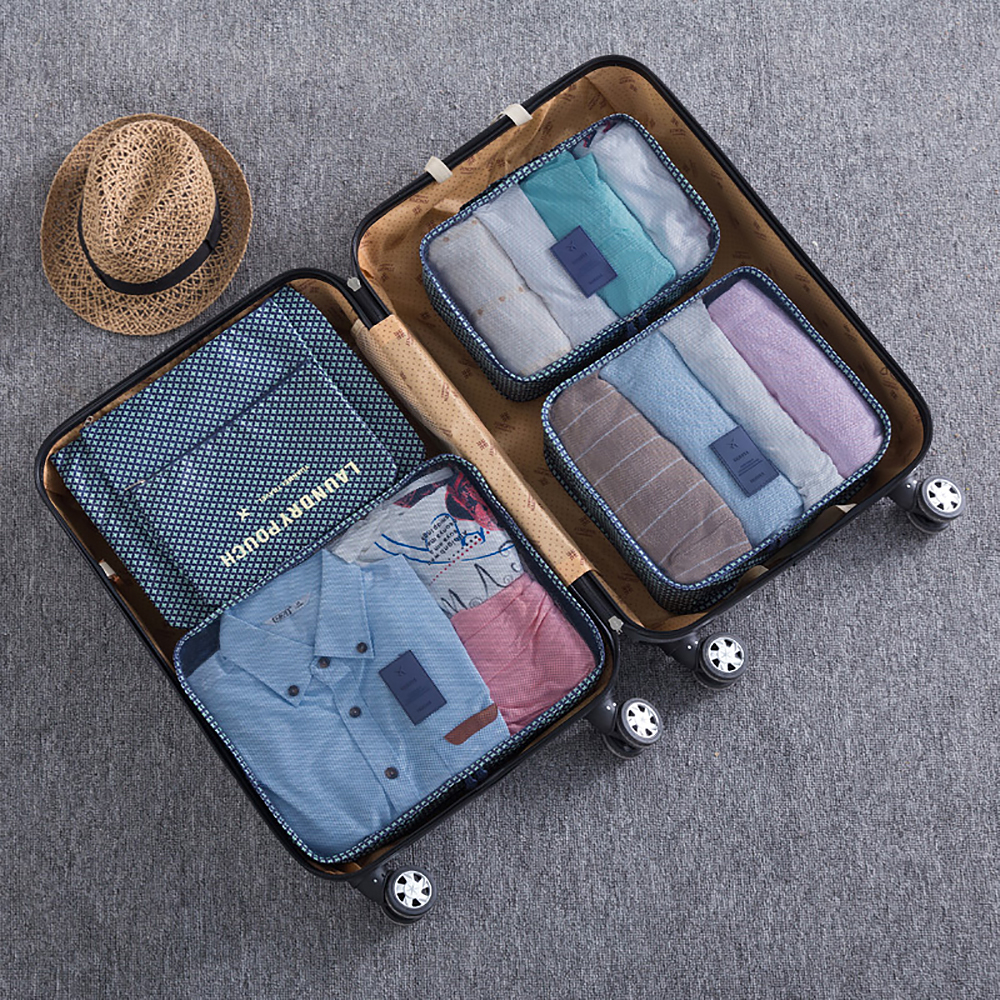 6pcs Clothes Storage Bags Set Luggage Organizer Pouch - Blue Star