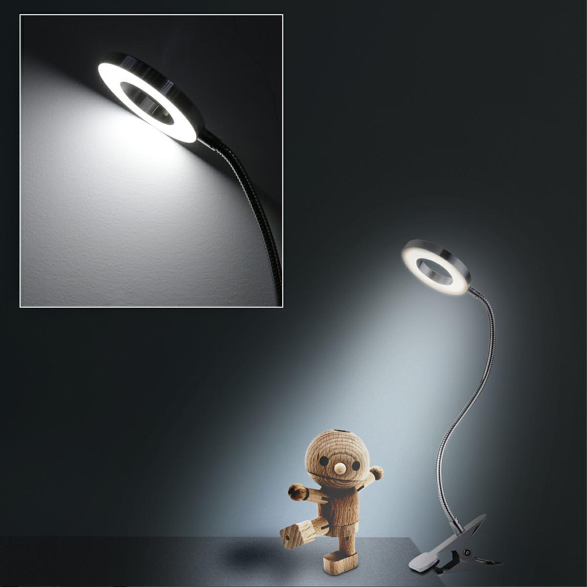 Flexible USB LED Light Clip-on Table Night Reading Lamp - Silver