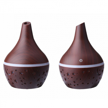 300ML Electric Led Oil Essential Aroma Diffuser and Air Purifier - Dark Wood Pattern