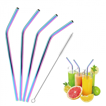 4 pcs Reusable Stainless Steel Drinking Straw with Cleaning Brush - Rainbow Colour