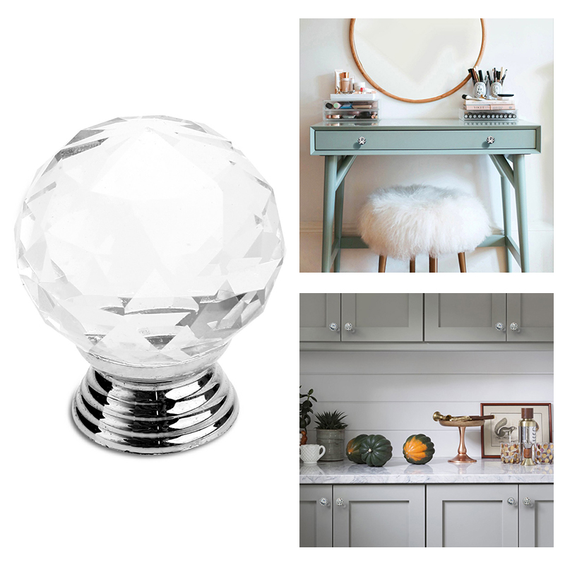 30mm Crystal Glass Drawer Knob Circle Ball Shape Cabinet Pulls