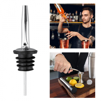5 pcs Stainless Steel Liquor Spirit Pourer Free Flow Spout Stopper