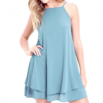 Women Holiday Chiffon Beach Wear Bikini Cover Up Light Blue - L