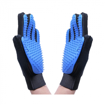 1 Pair Pet Grooming Glove Deshedding Brush Hair Remover Mitt Massage Tool - Blue