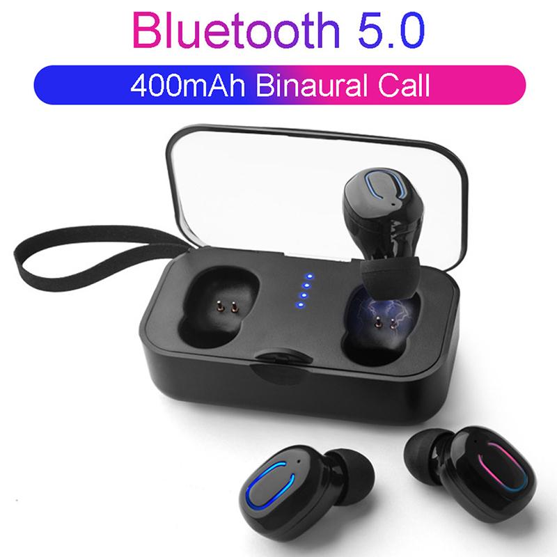 TI8S Mini TWS Wireless In-ear Stereo Bluetooth 5.0 Earphones - Black