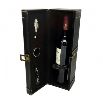 1 Bottle Modern Handle Travel Wine Carrier Case with Wine Accessory Set