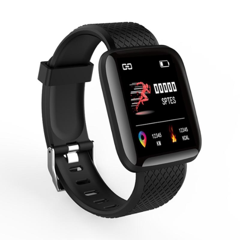116plus Smart Watch Heart Rate Blood Pressure Blood Oxygen Measure - Black