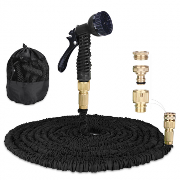 Expandable Water Pipe 100ft with Extra Strength Fabric and 7 Function Spray Gun