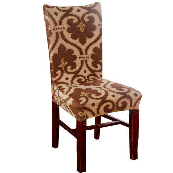 Removable Stretch Elastic Chair Cover for Dining Room - Brown Flower