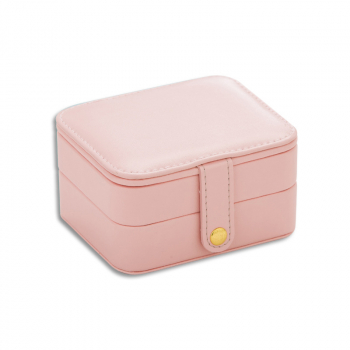 Creative Small Jewelry Box Multilayer Jewelry Box PU Material - Pink