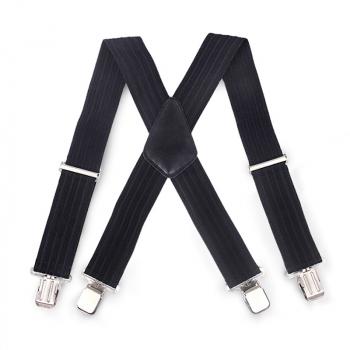 Bumpy Stripes 50mm Wide Suspenders Adjustable - Black
