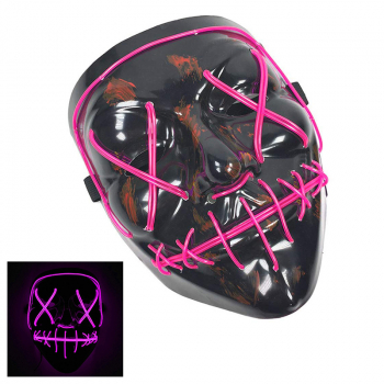 Light Up Purge Mask Led Scary Halloween Cosplay Masks for Adults - Pink