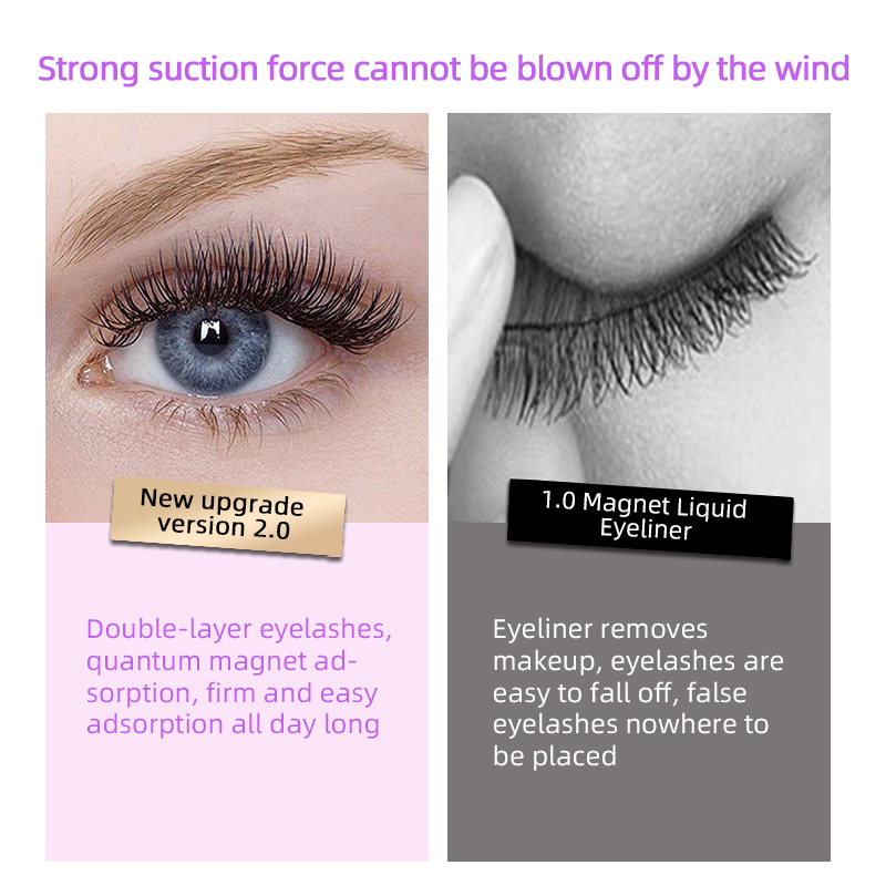 4pcs 3D Double Magnetic Fake Eyelashes No Glue Reusable - 24P