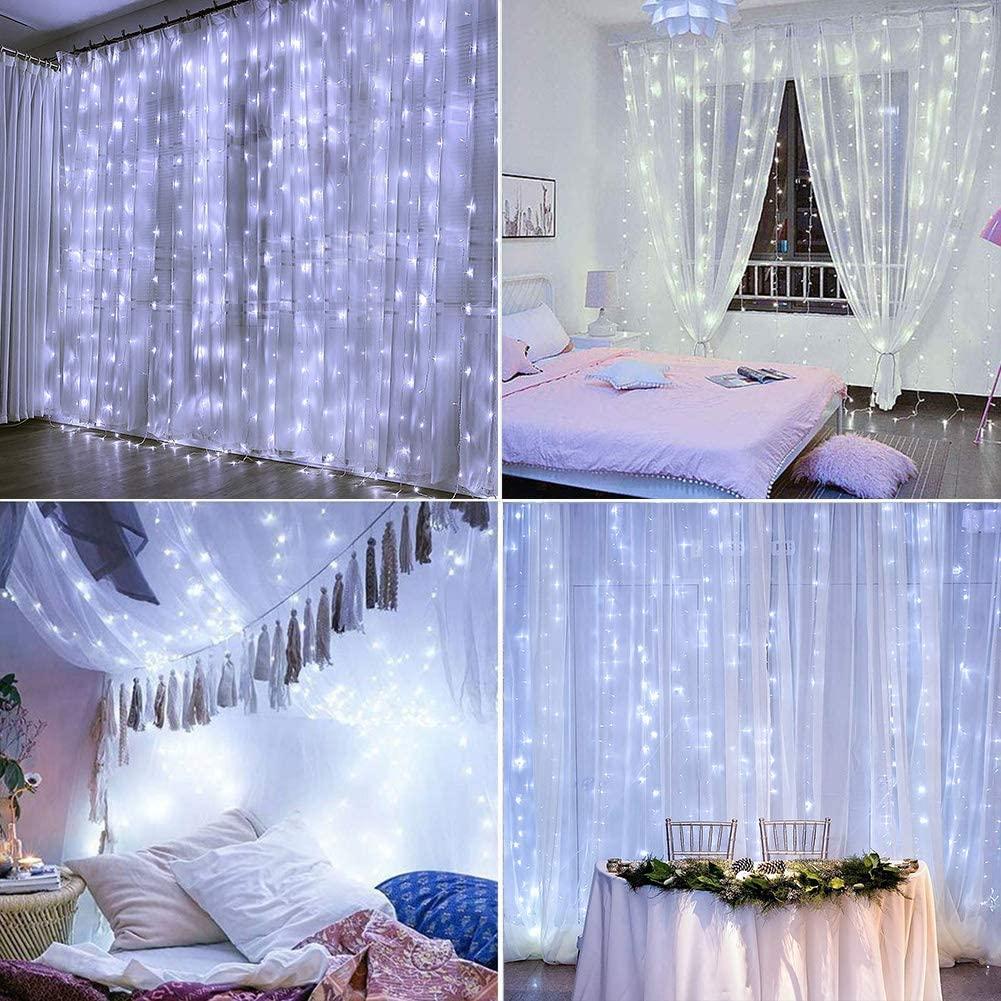 LED Curtain Fairy Lights String Backdrop Wedding Christmas Party Decor - Cold Light