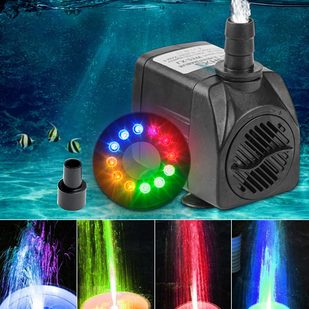 15W Submersible Water Fountain Pump with 12 LED Light UK