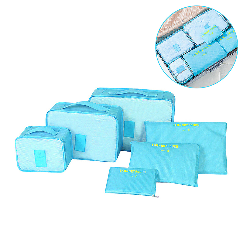 6pcs Waterproof Travel Storage Bags Clothes Packing Organizer - Blue