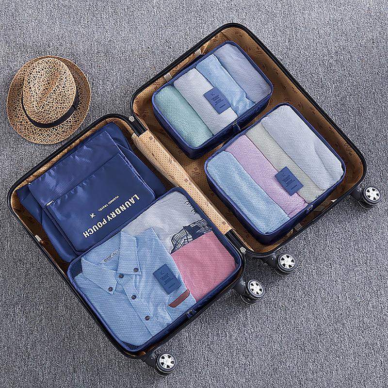 6pcs Waterproof Travel Storage Bags Clothes Packing Organizer - Dark Blue
