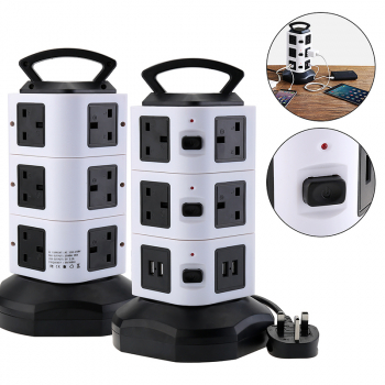 10 Way 4 USB Ports Power Socket Charge Plug with 3m Extension Cable - Black